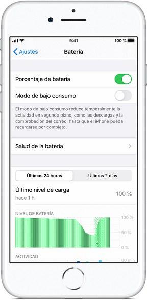 Menú Batería iPhone