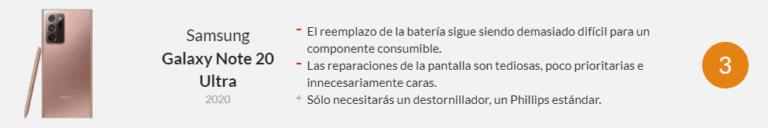 Reparabilidad Samsung Note 20 Ultra